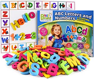 BizzyBrainz Alphabet Magnets + Magnetic Board / Magnetic Letters and Numbers for Toddlers Includes eBook with 35+ Learning & Spelling Games / ABC Magnets