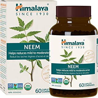 Himalaya Organic Neem, Mild Acne Relief for Clear, Smooth & Radiant Looking Skin, 600 mg, 60 Caplets, 2 Month Supply