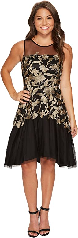 Tahari by ASL Petite - Petite Embroidered Mesh Party Dress
