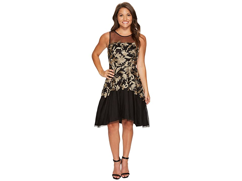Tahari by ASL Petite Embroidered Mesh Party Dress (Black/Gold) Women