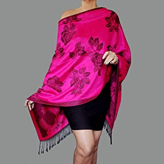 6a98430c39bac Bright Pink Shawl Black Rose Wrap Dressy Pashmina Poncho Top By ZiiCi