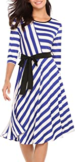 BEAUTYTALK Women's 3/4 Sleeve Dress Striped Midi Dress with Waist Tie