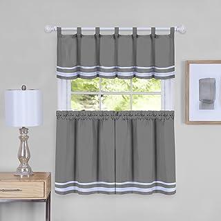 Achim Home Furnishings Imports Dakota Window Curtain Tier Pair And Valance Set, 58 X 36, Grey