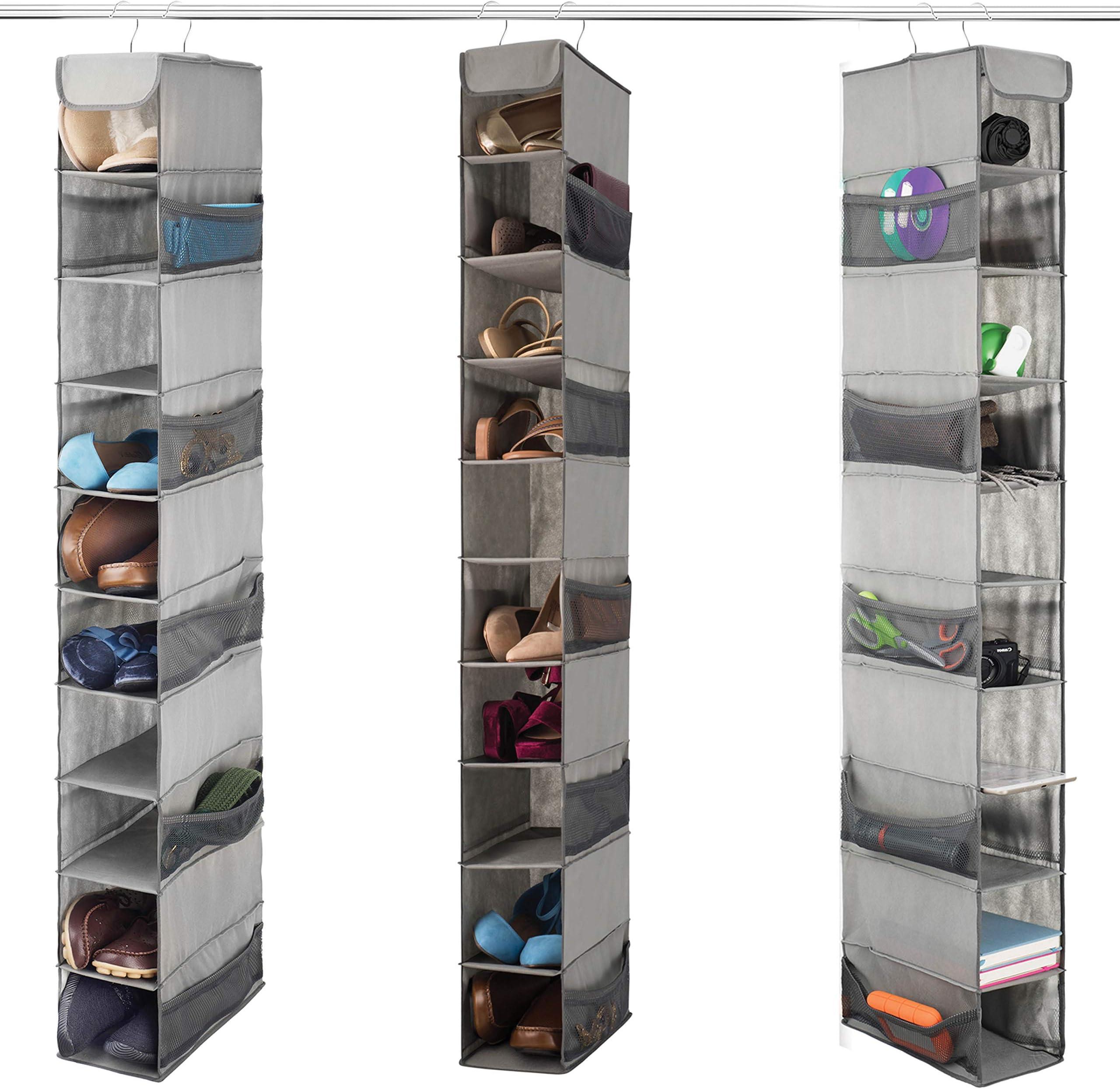 MISSLO 8-Shelf Hanging Wardrobe Storage Organiser Clothes Storage Shelves Hat Holder with Large Shelf and Side Mesh Pockets for Hats Handbags Kid Sweater Grey