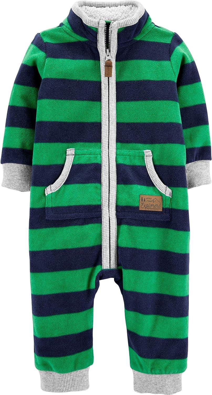 Carter's Boys 1-Piece Striped Zip-Up Fleece Footless Sleep & Play Sleeper Navy Green
