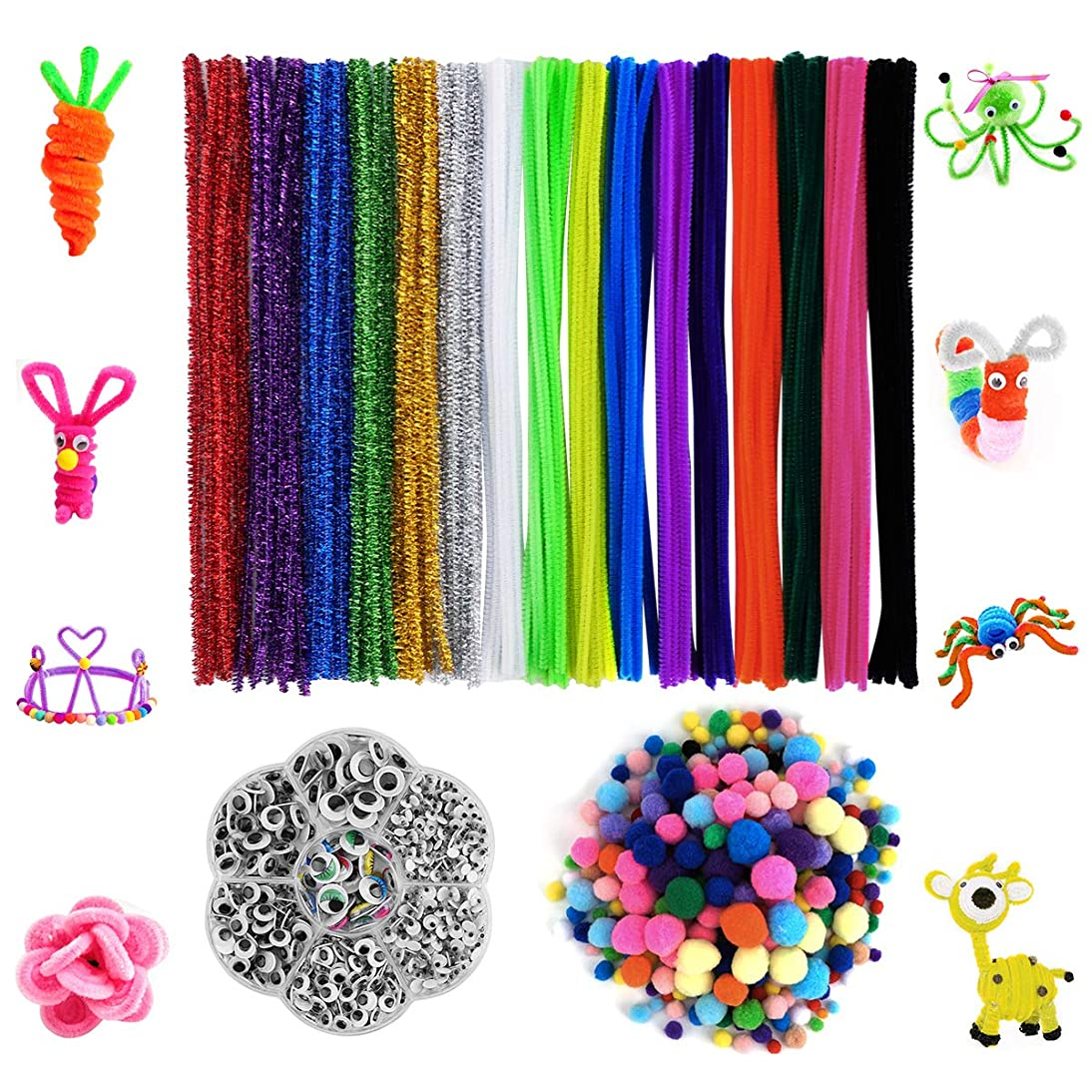 Cuttte 1220 Pieces Pipe Cleaners Set, Including 160 Pieces 16 Colors Pipe Cleaners, 360 Pieces 6 Size Pom Poms and 700 Pieces 6 Size Wiggle Googly Eyes for Craft DIY Art Supplies
