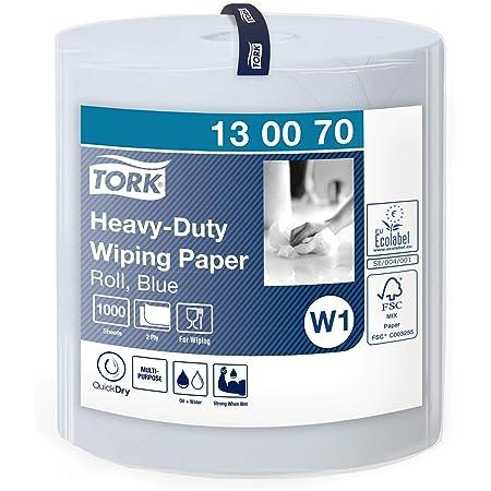 Tork 130070 Papier d'essuyage multi-usages Premium, compatible avec le système W1 / 2 plis - 340m x 36,9cm - 1 bobine - Bleu