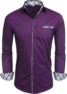 Hotouch Men's Long/Short Sleeve Fashion Button Up Shirt Contrast Casual Button Down Shirts Slim Fit Dress Shirt