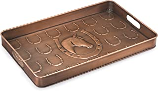 Good Directions Horse Multi-Purpose Serving Tray, Boot Tray / Shoe Tray - Copper Finish (22 inch) with Handles - Food, Drinks, Plants, Pet Bowl, Garage, Entryway, Entrance, Foyer
