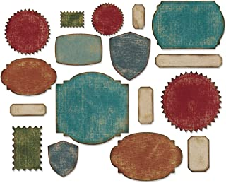 Sizzix Thinlits Die Set 660060, Labels by Tim Holtz, 17 Pack, Multi Color, One Size,