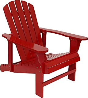 Sunnydaze Adirondack Chair with Adjustable Backrest - Natural Fir Wood Material - Outdoor Patio Chair - 250-Pound Weight Capacity - Red - Perfect Outside Chair for Front Lawn, Backyard or Deck