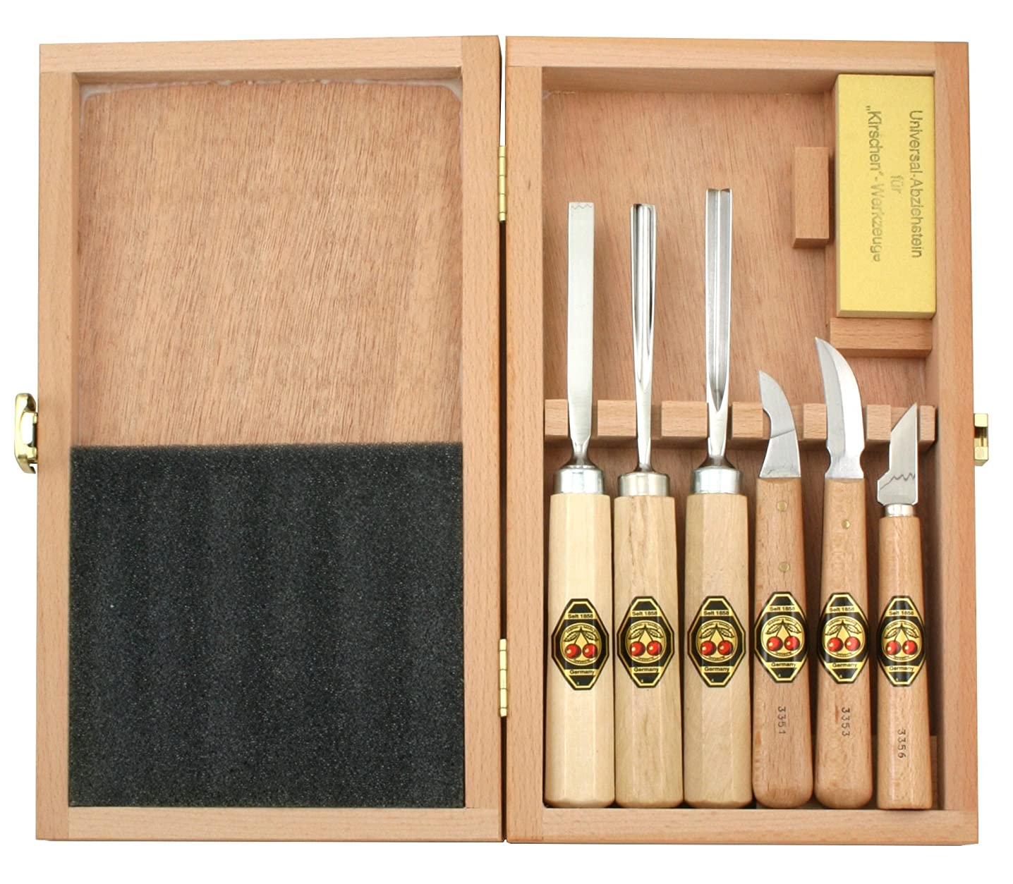 Two Cherries 515-3437 7-Piece Wood Carving Set in Wood Box