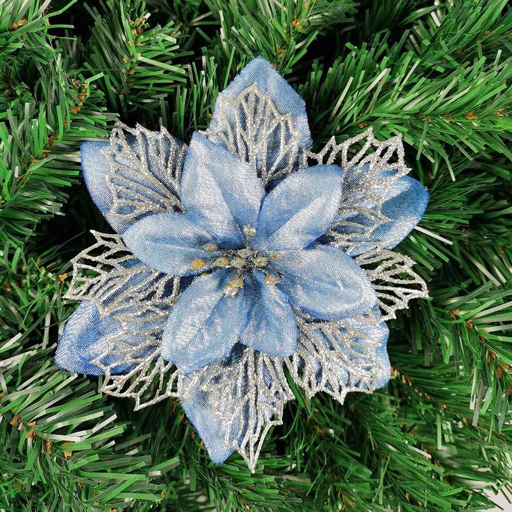 Yueshop 10pcs Christmas Glitter Artificial Large Flowers 16CM Blue Christmas Poinsettia Flowers Shining Wedding Party Decoration Xmas Tree Wreaths Decor