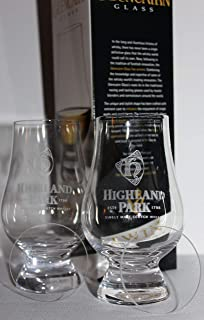 HIGHLAND PARK TWIN PACK GLENCAIRN SCOTCH MALT WHISKY TASTING GLASSES WITH TWO WATCH GLASS COVERS