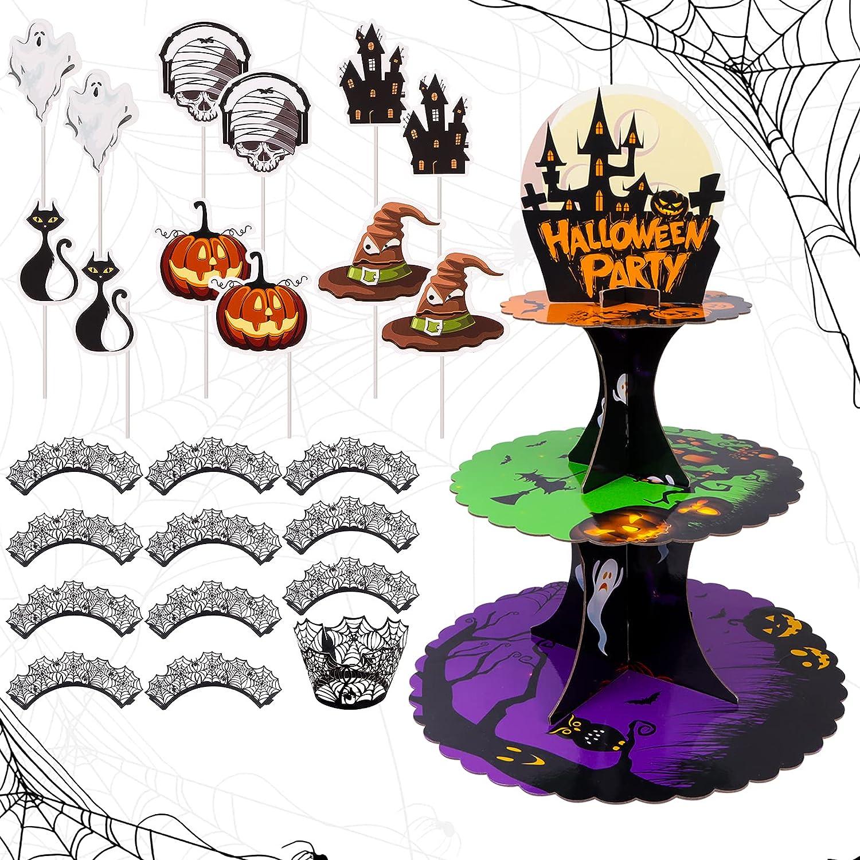 3 Tier Halloween Cupcake Stand Holder Cardboard Round Dessert Cake Stand Premium Cupcake Tower with 12Pcs Halloween Cupcake Wrappers 12Pcs Pumpkin witch ghost Cupcake Toppers for Halloween Party Decor