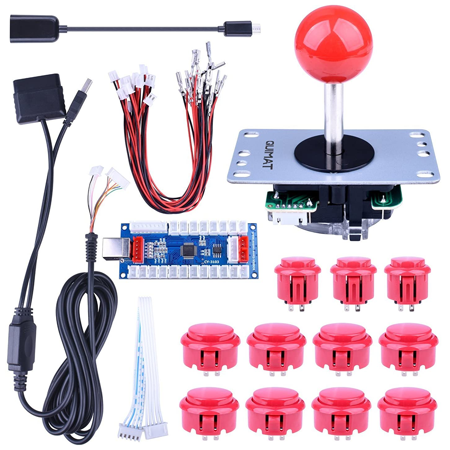 中絶変位マイナーHigh Quality Arcade Game Button and Joysticks Controller DIY Kit Supports Rapsberry Pi, Windows, XBOX, PS3, PS2, Android, Tablet, Mobile Phone and TV Box, 4/8 Way Joystick and 11 Red Push Buttons