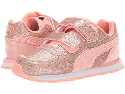 Puma Kids Vista Glitz Velcro (Toddler) (Peach Bud/Bright Peach/Puma White) Girls Shoes