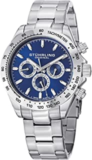 Stuhrling Original Monaco Concorso 665B Men's Quartz Watch With Blue Dial Analogue Display and Silver Stainless Steel Brac...