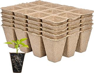 Supkiir Seed Starter Tray, Organic Biodegradable Germination Seedling Starter Peat Pot for Indoor Outdoor Herb Vegetable F...