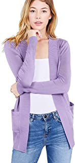 Khanomak Women's Basic Longline Long Sleeve Open Front Sweater Cardigan Jacket