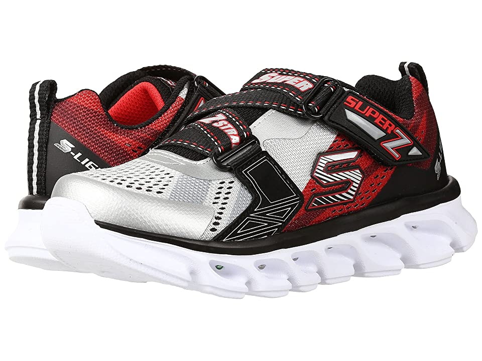 SKECHERS KIDS Hypno Flash 90580L Lights (Little Kid) (Silver/Red) Boys Shoes