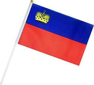 Hand Held Liechtenstein Flag Liechtenstein people Flag Stick Flag Small Mini Flag 50 Pack Round Top National Country Flags,Party Decorations Supplies For Parades,World Cup,Sports Events,Celebration