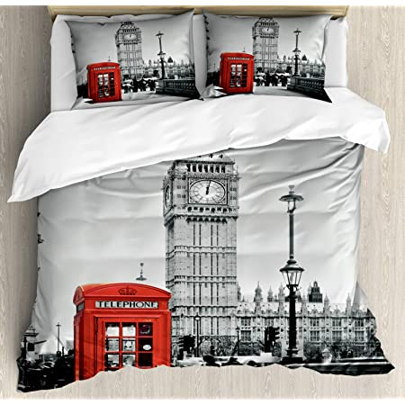 Details about  /London Quilted Bedspread /& Pillow Shams Set Sketch English Icons Print