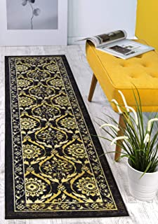 Antep Rugs Casa Azul Collection Geometric Floral Non-Skid (Non-Slip) Low Profile Pile Rubber Backing Indoor Area Runner Rug (Black/Beige, 1'10