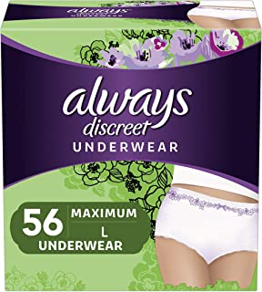 Always Discreet Incontinence & Postpartum Underwear for Women, Large, 56 Count,..