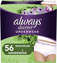 Always Discreet Incontinence & Postpartum Underwear for Women, Disposable, Maximum Protection, Large, 28 Count- Pack of 2 (56 Count Total) (Packaging May Vary)