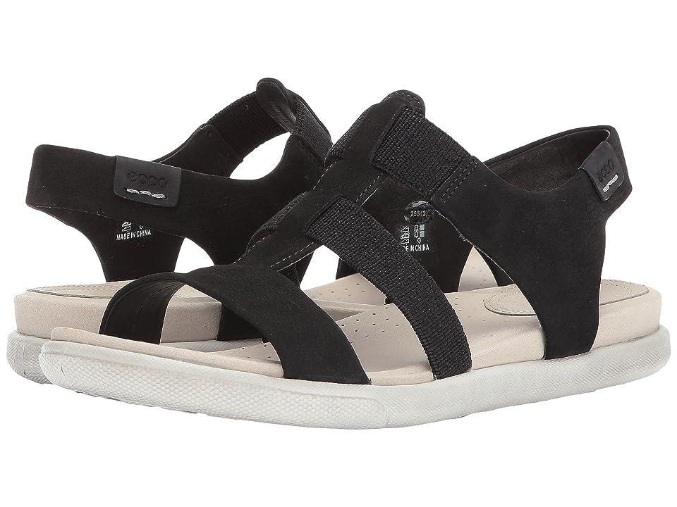 ECCO Damara Elastic Sandal (Black Cow Nubuck) Women