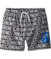 Moschino Kids - All Over Logo Print Swim Shorts w/ Peace Sign (Little Kids/Big Kids)