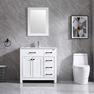 """Walsport Bathroom Vanity Sink Combo, 36"""" White Modern Wood Cabinet Basin Vessel Sink Set with Mirror, Chrome Faucet, P-trap"""