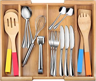 Drawer Dividers silverware tray Expandable Utensil Cutlery Tray Bamboo Wooden Adjustable 4 Compartments Flatware Organizer Kitchen Storage Holder for Knives Forks Spoons Accessories Gadgets