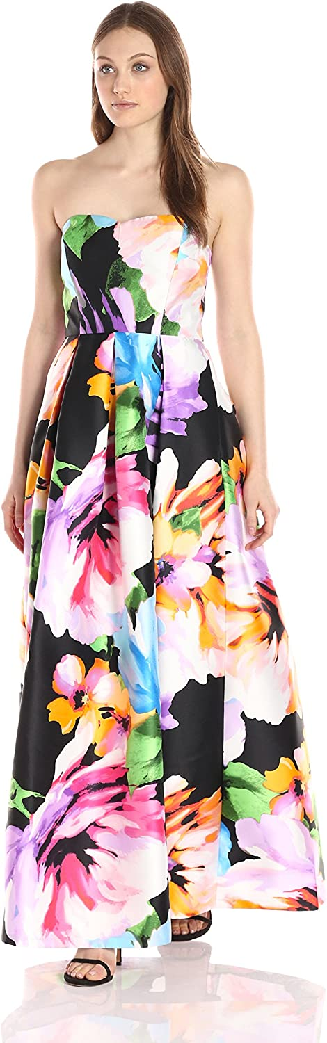 Ellen Tracy Womens Strapless Sweetheart Neck Printed Gown Dress