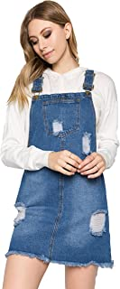 Women's Casual Denim Destroyed Overall Dress for Women Plus