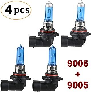 CK FORMULA (4 Pieces) Combo 9006/HB4 55W + 9005/HB3 65W Halogen Headlight Bulbs (Low/High Beam) 12V 5000K Super White