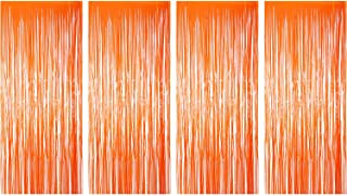Sumind 4 Pack Foil Curtains Metallic Fringe Curtains Shimmer Curtain for Birthday Wedding Party Christmas Decorations (Orange)