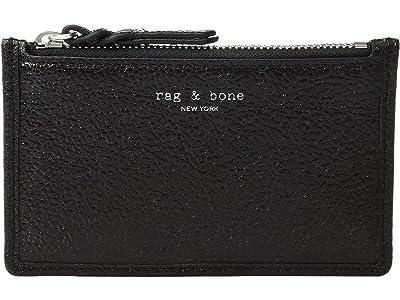 rag & bone Field Zip Card Case (Black Crackle) Wallet