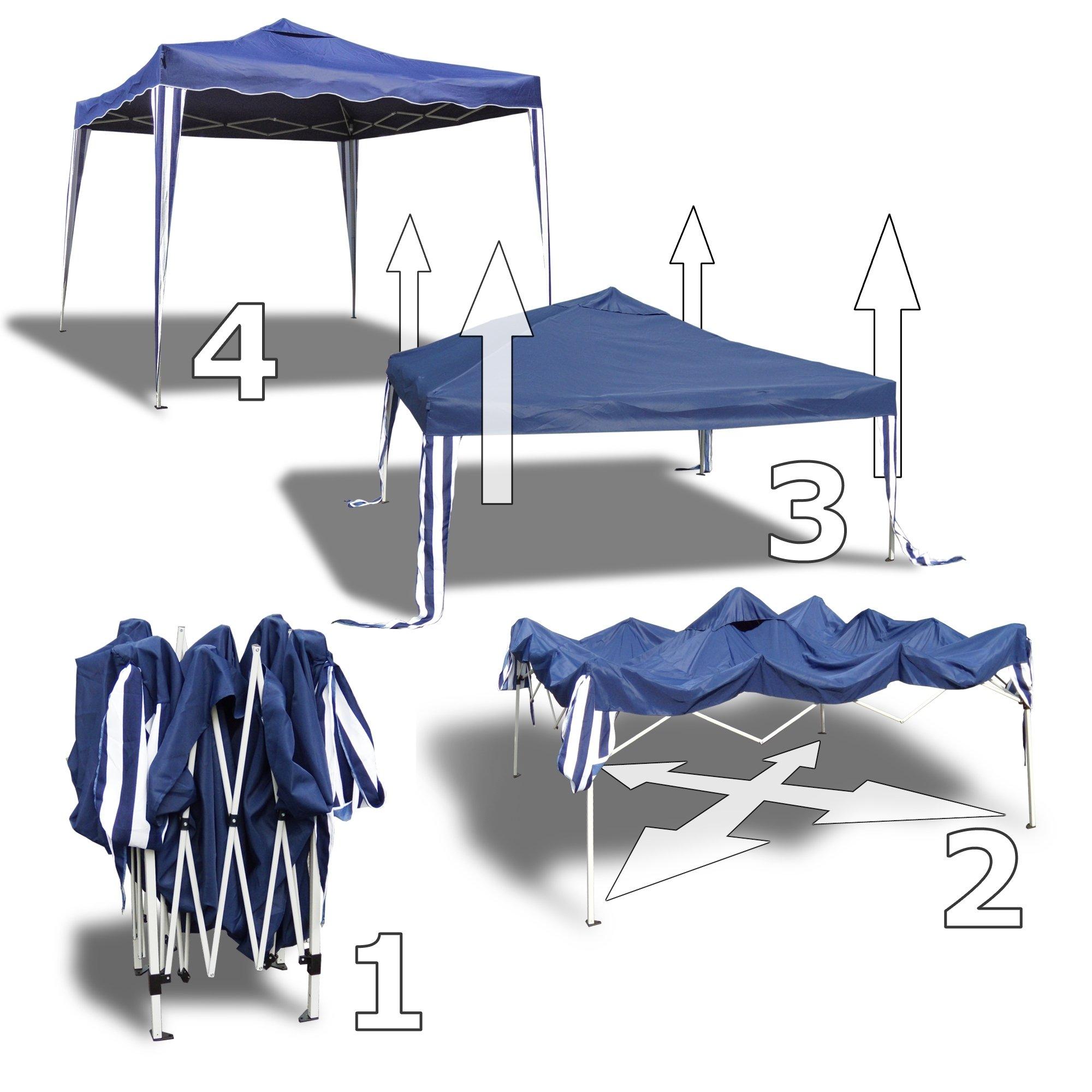 JOM pabellón de jardín Sylt II, Plegable, 3 x 3m, Techo Azul, 2 x ...