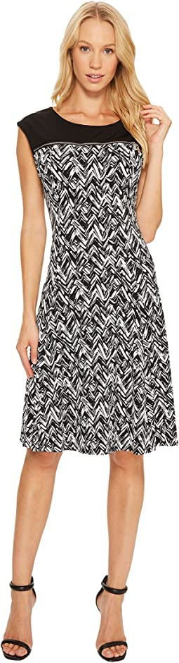 Calvin Klein - Sleeveless Print Dress with Zipper Yoke