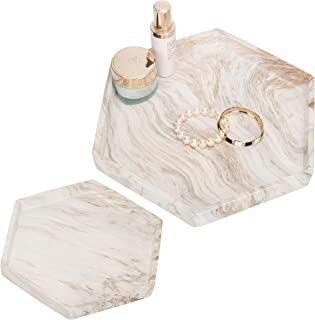 MyGift Marbled Clay Hexagonal Nesting Serving Trays, Set of 2