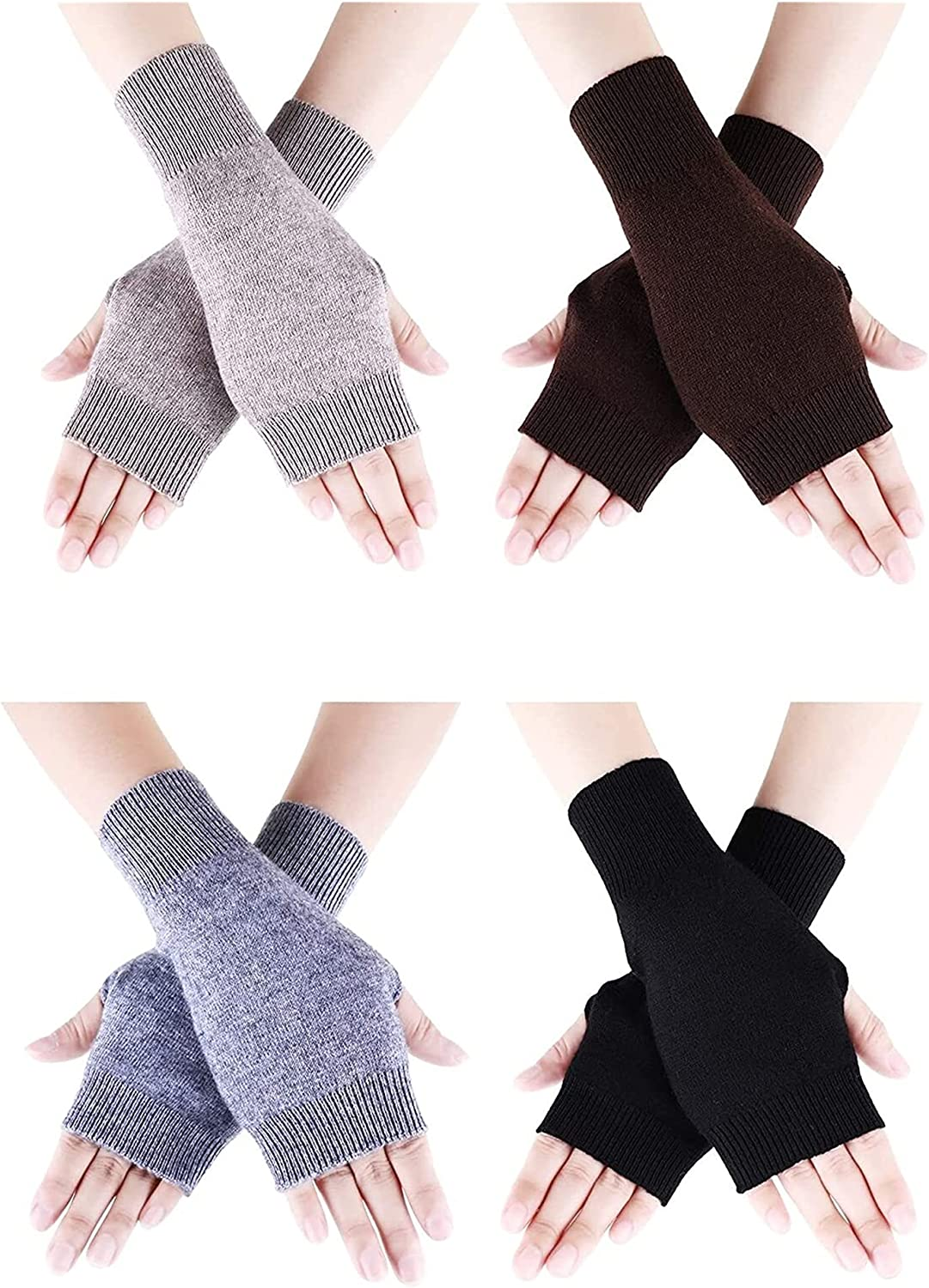 Jsmhh 4 Pairs Cashmere Feel Fingerless Gloves with Thumb Hole Warm Gloves for Women and Men