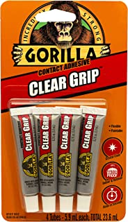 Gorilla Clear Grip Contact Adhesive Minis, Flexible, Fast-Setting, Permanent Bond, Waterproof, Indoor & Outdoor, Paintabl...