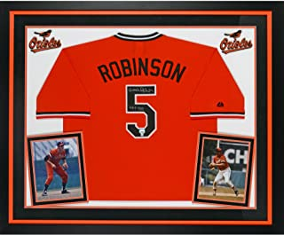Brooks Robinson Baltimore Orioles Deluxe Framed Autographed Orange Throwback Jersey with