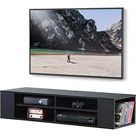 FITUEYES Wall Mounted Media Console,Floating TV Stand Component Shelf with Height Adjustable,Black,FDS212002WB