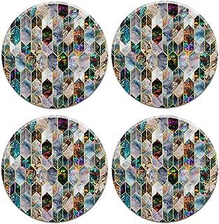 CARIBOU Coasters CB-RDCC-SBRDCECST0001-4-C0024 Caribou Round Ceramic Stone 4pcs Set, Mug Coffee Cup Place Mat Home Coaster...