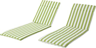 Christopher Knight Home Salem Outdoor Green And White Stripe Water Resistant Chaise Lounge Cushions (Set Of 2),