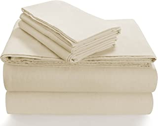 Tribeca Living SOLFL170SSQUIV Solid 5-Ounce Flannel Extra Deep Pocket Sheet Set Queen Ivory