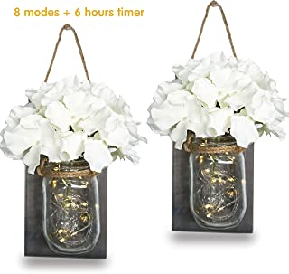 StarryMine Rustic Mason Jar Sconces Wall Decor with 2 Pack 20 LED Fairy Lights, Hemp Rope, Silk Hydrangea and Wrought Iron Hooks for House Decoration (2 Sets)